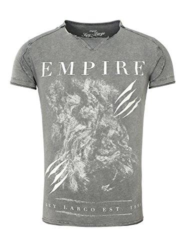 Key Largo Herren T-Shirt EMPIRE Vintage Print im Batik Look mit offener Naht Grau