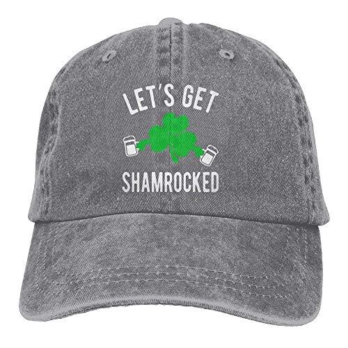 ET Shamrocked St Patty's Day Vintage Washed Dyed Cotton Twill Low Profile Adjustable Baseball Cap Black ny Cap ()