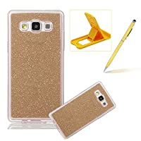For Samsung Galaxy E5 Cover,For Samsung Galaxy E5 Rubber Case,Herzzer Super Slim [Gold Gradient Color Changing] Dust Resistant Soft Flexible TPU Bling Glitter Protective Case for Samsung Galaxy E5 + 1 x Free Yellow Cellphone Kickstand + 1 x Free Yellow St