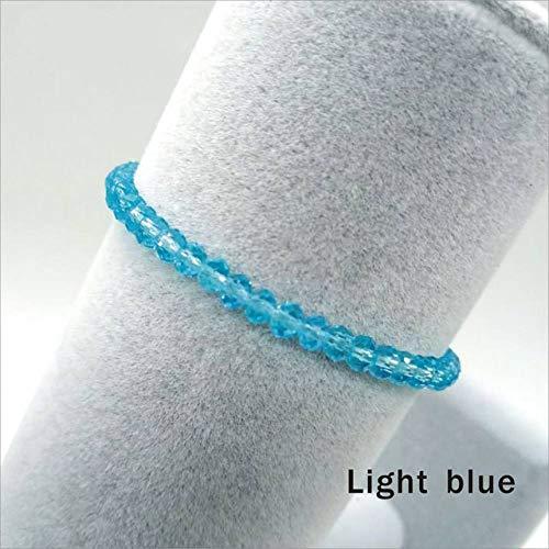 lonfenner Kristall Armreif,Kristall Armbänder, Handgefertigten Perlen Armbänder, Hellblau Damen Perlen Armbänder, Schöne Crystal Bead Armbänder, Geburtstag Geschenke