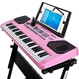 QXMEI Kinder-Digital-Keyboard 61 Tasten Klaviertastatur Mit Mikrofonrahmen (Chinesische Version)(schwarz Pink),Pink