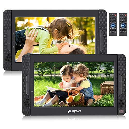 Pumpkin Lecteur DVD Portable Voiture pour Enfant 2 ecrans d'appuie-tête 10.1 Pouce supporte Region Libre USB SD MMC Autonomie de 5 Heures avec Etui de Montage dans...