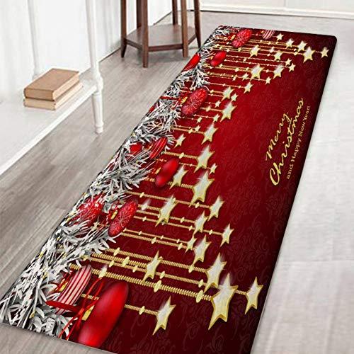 Wingbind area tappeto antiscivolo porta tappetino tappeto a motivi natalizio tappeto per soggiorno camera da letto corridoio cucina, stella appesa natale