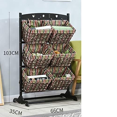 OR&DK Boden Aufbewahrung Rack, Multi-Layer Magazin Spielzeug Ablagekorb Rattan-Korb Bücherregal Nordic Style Storage Organizer-D -