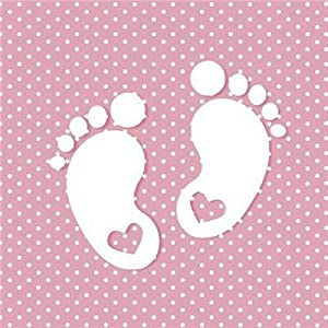 20 Servietten Kleine Fußabdrücke auf rosa mit weißen Punkten zur Babyparty, Taufe oder Kindergeburtstag für Mädchen 33x33cm