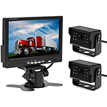 Camecho 12V 24V copia de seguridad cámara Monitor Kit con 2apoyo cámara de visión trasera impermeable Visión Nocturna y 7pulgadas coche monitor con doble 50ft AV Cables para autobús/camión Van/remolque/RV/Campers