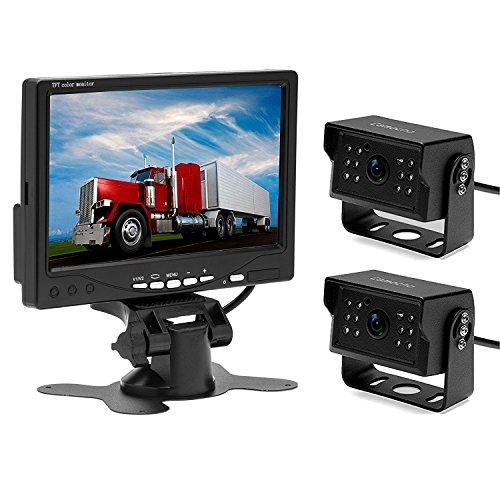 Camecho 12V 24V Rückfahrkamera Monitor Kit mit 2 Rückfahrkamera Waterpoof Support Nachtsicht & 7