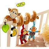 DE'LANCI Lit Bébé Toy Singe Mignon de Design du Nouveau Jouets Activité Siège Bébé Lit de Voiture Jouets Wrap Around Berceau Jouets Poussette Jouets Pour 0-36 Mois Bébé