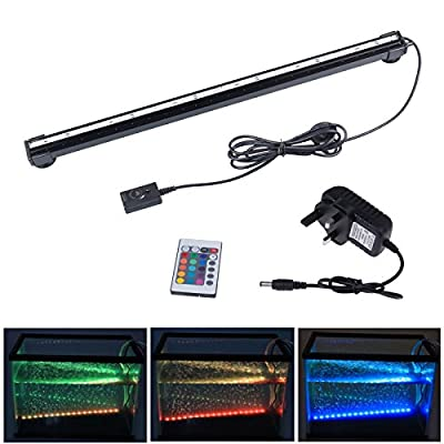 LemonBest New Remote RGB Air Bubble LED Aquarium Light Fish Tank Coral Lamp Waterproof