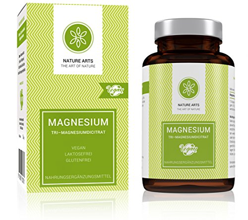 Magnesium Kapseln hochdosiert (670 mg pro Kapsel) von Nature Arts | 180 Stück | Frei von Zusatzstoffen wie Gelatine oder Magnesiumstearat | Magnesiumcitrat | vegan und hergestellt in Deutschland |