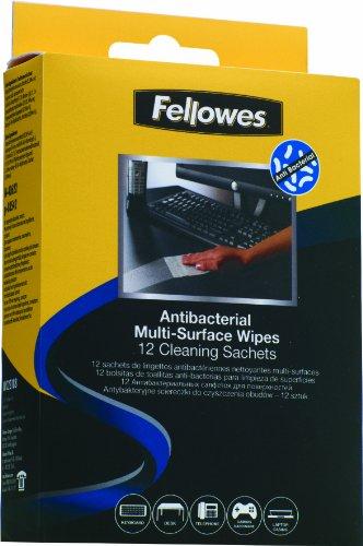 Fellowes 2218801 - 12 bolsas de toallitas limpiadoras multisuperficies