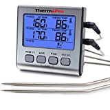 ThermoPro TP17 Thermomètre de Cuisine Numérique, Grand Écran LCD Rétroéclairé bleu, Double sonde en acier inoxydable pour Cuisson, Barbecue, Gril, Four