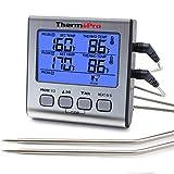 ThermoPro Digitales Grill-Thermometer Bratenthermometer Fleischthermometer mit Timer, zwei Edelstahlsonden, Blaue Hinterbeleuchtung, Temperaturbereich bis 300°C