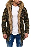 One Public MEGASTYL Herren Jacke Winterjacke Camouflage mit Abnehmbaren Kunstfell, Größe:L, Farbe:Camouflage Light