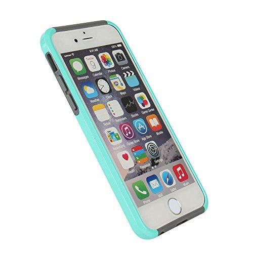 iPhone 7 Plus Hülle, iPhone 8 Plus Hülle, MTRONX Hybrid Schutzhülle Hart Case TPU weiche Silikon Stoßfest Tasche Case Cover für Apple iPhone 7 Plus iPhone 8 Plus - Schwarz/Schwarz(HC-BKBK) Himmelblau & Grau