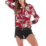 Baseball Mantel Damen,MEIbax Frauen Vogel Print Bluse Stilvoll Bequem Outwear Mantel Zipper Jacke