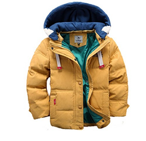 Boys Stylish Winter Coat, Warm, Hooded, Autumn or Winter Parka Jacket. Quality Quilted Puffer Downs Coat (5-6 Years (120), Mustard 16)