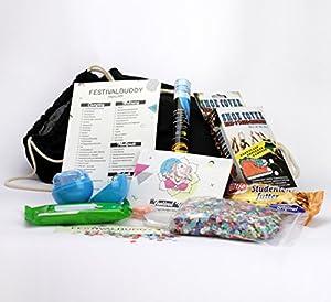 Festivalbuddy - Festival Set & Survival Kit - Ausrüstung inkl. Rucksack als Tasche - Gadget & Zubehör Essentials - Feuchttücher, Knicklichter, Konfetti, Regenponcho, Seifenblättchen, Ohrstöpsel, u.v.m