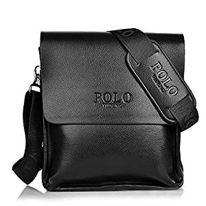 Messenger Bag Men's Black Shoulder Bag + Adjustable Black Canvas Strap Polo Videng