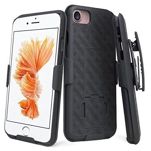 celldealsusa Fall für iPhone 7-Gürtelclip Holster Combo Handy Fall mit Kick Ständer Drehbar Cover Schwarz