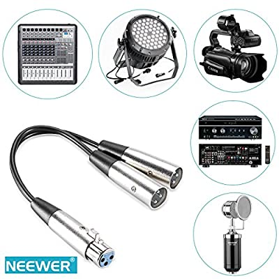 Neewer® 6-Inch XLR Female to Dual XLR Male Y Splitter Audio Cable for any XLR-Connection Microphones, Mixers, Camcorders, Speakers, Amplifiers and More