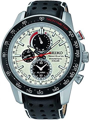 Seiko - SSC359P1 - Solar - Montre Homme - Automatique Chronographe - Cadran Gris - Bracelet Cuir Noir
