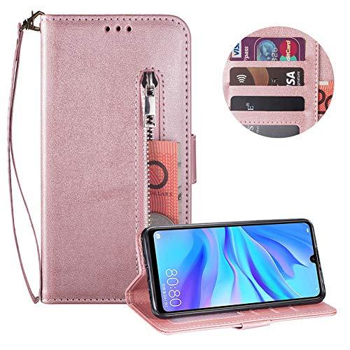 Reißverschluss Brieftasche für Huawei P20 Lite,Gurt Wallet Handyhülle für Huawei P20 Lite,Moiky Klassisch Rose Gold Solide Farbe Klappbar Stand Leder Handytasche -
