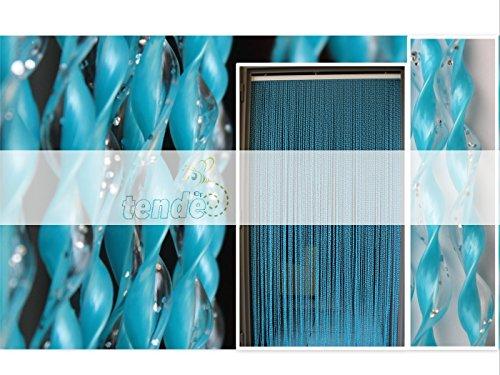 Tenda/moschiera pvc –modello 21 - asta in alluminio - made in italy - misure standard (90x200/95x200/100x220/120x230/130x240/150x250) - (80x200, blu glitter argento (6))