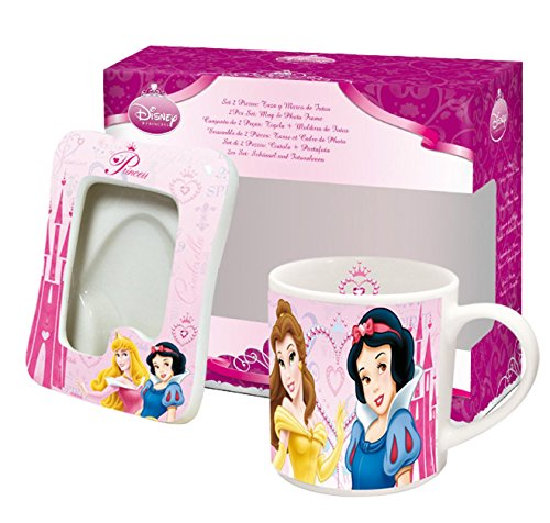 Disney 770324 - Principesse Set: Tazza e Portafoto di Ceramica in Confezione Regalo, 17x8x15 cm - Disney World Photo