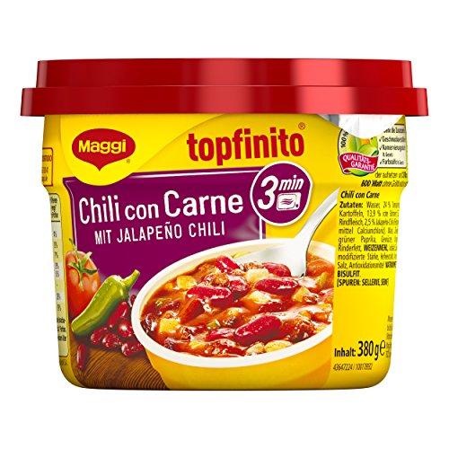 Maggi Fertiggericht Topfinito Chili con Carne mit Jalapeño Chili, Hackfleisch und Kidneybohnen,...
