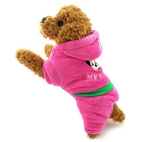 (zunea Samt Weiche Hund Schlafanzüge mit Kapuze Jumpsuit Puppy Hoodies Warm bequeme Kostüm Outfits, für kleine Haustiere Hund Katze)