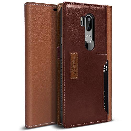 Obliq LG G7 ThinQ Hülle, [K3 Wallet] Stylischer Flip Cover Wallet Case aus hochwertigem italienischem Leder mit Drop Protection & Shock Absorbing Kissen für das LG G7 (2018) (Braun/Burgund)