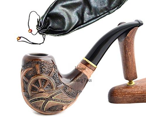 La pipa fatta del pero di alta qualita, lavorazione a mano 'Pirata'+ la borsa da tabacco