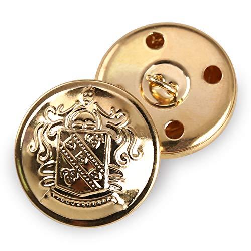 Retro-Metallknöpfe mit Ösen, Anzug-/Mantelknöpfe, dekorative Verschlüsse, Nähzubehör, Packung à 12 Stück, goldfarben, gold, 25 mm