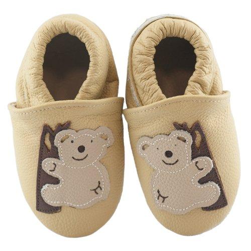 SmileBaby Premium Leder Lauflernschuhe Krabbelschuhe Babyschuhe mit verschiedenen Motiven Beige Koala
