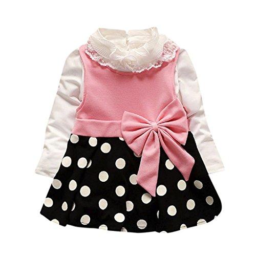 Amlaiworld baby Mädchen weich Punkte drucken kleider+ langarmshirt,bunt Flickwerk bowknot Kleinkind winter kleidung,0-24Monate (24 Monate, Rosa) (Baby-kleid-mantel)
