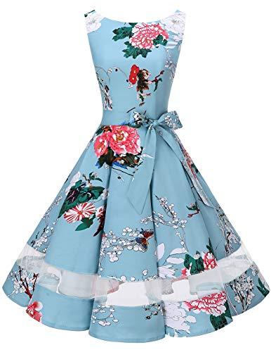 bridesmay 50s Retro Vintage Rockabilly Kleid Knielang Partykleider Cocktailkleid Abendkleider Floral 2XL (Promi Kostüm Fotos)