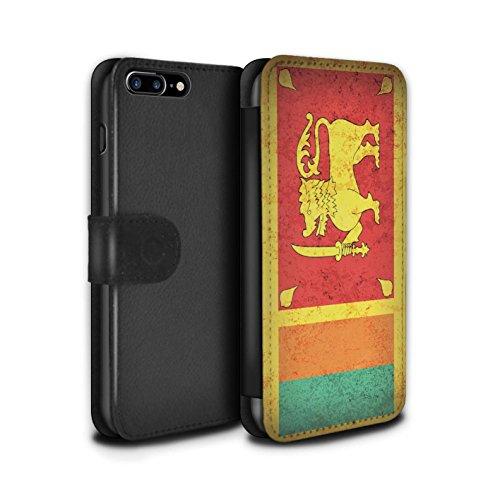 STUFF4 PU-Leder Hülle/Case/Tasche/Cover für Apple iPhone 8 / Georgien/Georgisch Muster / Asien Flagge Kollektion Sri Lanka/Lankan