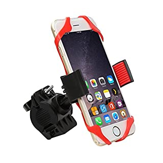 ANFTOP Phone Holder Bike Mount Silicone Universal mobile Cell Phone Bicycle Handlebar Holder with 360 Rotate for s6 edge s8 plus 6 6s 7 7s 8 X All Phones Android And GPS Device Red