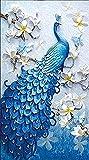 Demarkt Blauer Pfau Painting DIY 5D Strass Kleben Diamant Stickerei Malerei Kreuzstich Wohnkultur Handwerk DIY 5D Diamant Painting (100X65cm)