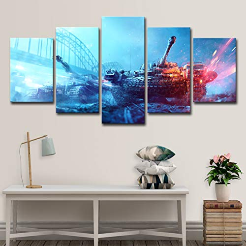 Art 5 Pcs Battlefield Spiel Canvas Print for Paintings Artwork Modern Canvas Wall Art for Home and Office Decor,A,30x45x2+30x60x2+30x76x1 -