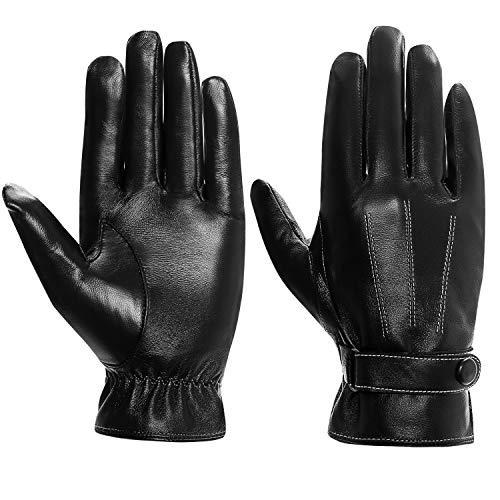 Herren Winter Touchscreen Lederhandschuhe Warme Gefüttert Motorradhandschuhe (Schwarz,XL) ()