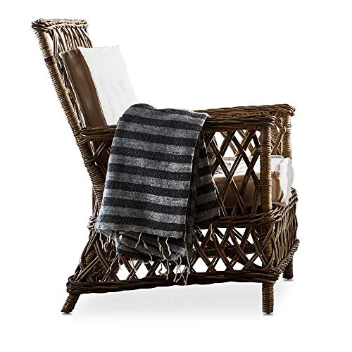 Pharao24 Wohnzimmersessel Set aus Rattan rustikalen Landhausstil