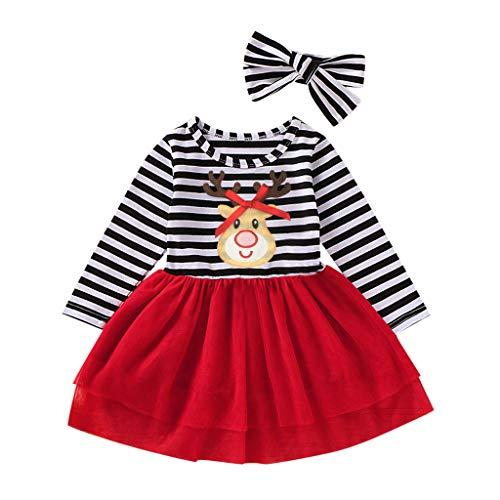 LILIGOD Kleinkind Baby Mädchen Weihnachtskleid Langarm Santa Streifen Prinzessin Kleid Mesh Tulle Kleid Herbst und Winter Dress Mode Süß A-Linien Kleid Haarband Outfits Party Kleid