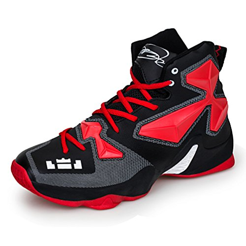 LanFengeu Laufschuhe Hoch Freizeit Geschlossene Atmungsaktive Dämpfung Anti-Rutsche Leichte Mehrfarbig Tragene Sportschuhe Unisex-Erwachsene Basketballschuhe Schwarz-Rot 43 EU