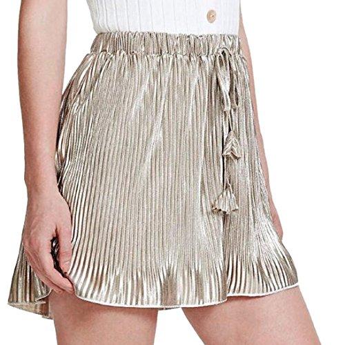 Shorts Damen Sommer Stretch Slim Fit Falten Hosen Sommer Casual Shorts High Taille Short Pants Strandshorts Culottes (Gold, XL)