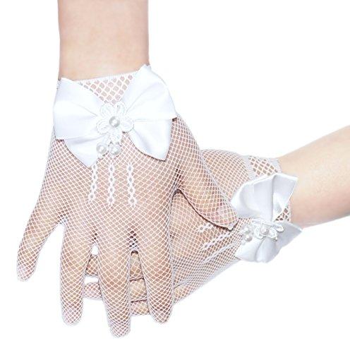 4-14 años guantes de niñas blanco