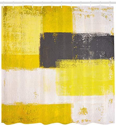ABAKUHAUS Duschvorhang, Abstrakter Bemalung Pinselstriche Moderne Kunst in Gelb Weiß Schwarz Orange Tonen Digital Druck, Wasser und Blickdicht aus Stoff mit 12 Ringen Bakterie Resistent, 175 X 200 cm