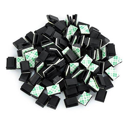 Schwarze Lautsprecher-draht-clips (100 Stück Selbstklebende Auto Kabel-Clips Kabelführung-Clips Kabelhalter Draht Halter Organizer Kabelbinder- schwarz)