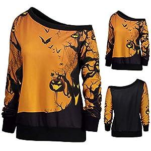 BaojunHT Halloween Theme Sweatshirt Women Off Shoulder Jumper Party Pumpkin Print Blouse